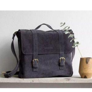 Ayres Suede Blue Messenger Bag